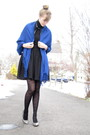 Black-dress-blue-scarf-black-sweater-black-tights-gray-shoes