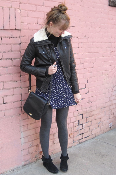 brown f21 jacket - blue thrift dress - black thrift purse - black Minnetonka boo
