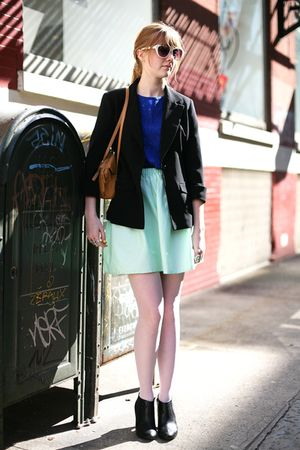 black H&M boots - black 2nd Hand blazer - brown 2nd Hand bag - blue 2nd Hand top