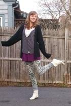 thrifted sweater - forever 21 dress - forever 21 leggings - Ebay boots