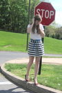 White-f21-shirt-silver-f21-skirt-red-colin-stuart-shoes-blue-italy-belt-