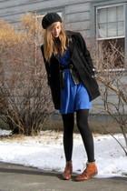 blue 2nd Hand dress - brown Ebay boots - black Marshalls coat - black H&M hat