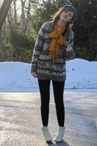white Ebay boots - blue target hat - gray sweater - black aa leggings