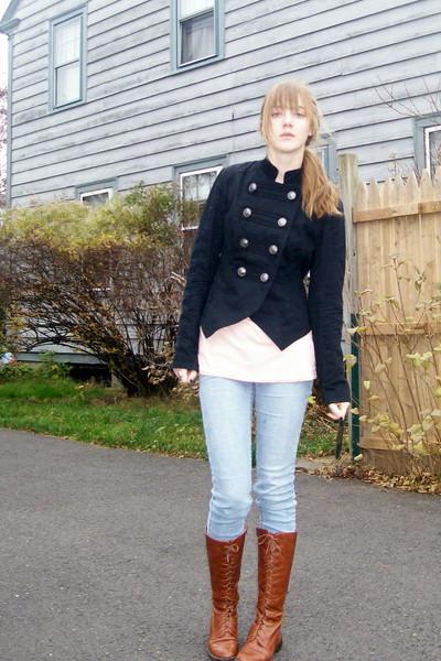 black Target jacket - beige shirt - blue jeans - brown shoes