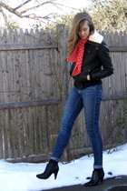 brown f21 jacket - red thrift scarf - blue 2nd hand altered jeans - black H&M bo