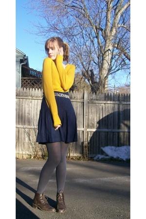 H&M shirt - moms old skirt - moms old boots