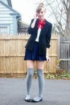 black 2nd Hand blazer - blue H&M skirt - gray Target socks