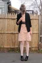 black 2nd Hand blazer - orange 2nd Hand dress - black From Grandma belt - black