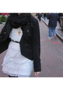 White-dress-black-jacket-black-shoes-black-scarf