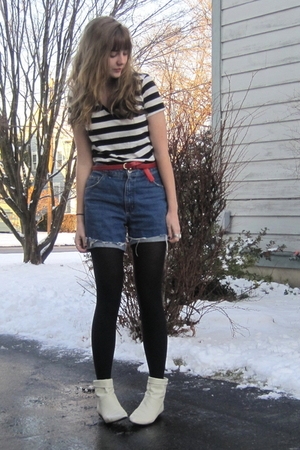 black f21 shirt - red thrift belt - blue thrift shorts - white Ebay boots