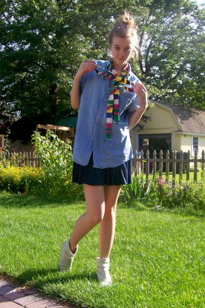 stolen from dad shirt - H&M skirt - Ebay boots