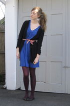 blue 2ndhand dress - black Target cardigan - purple Target tights - black Nine W