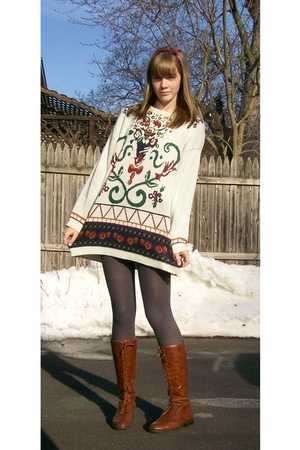 vintage sweater - Marshalls tights - forever 21 boots