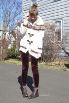 white f21 sweater - red f21 leggings - brown my mums boots