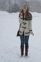white f21 sweater - blue 2nd hand altered jeans - brown f21 boots - black vintag