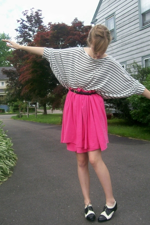 pink American Apparel scarf - black Ebay shoes - white H&M shirt