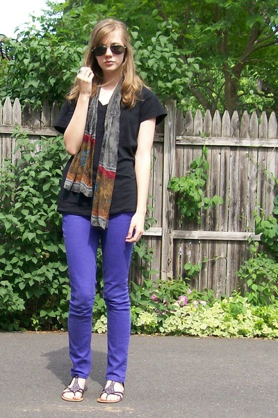 airport sunglasses - moms scarf - American Apparel shirt - Charlotte Rouse jeans