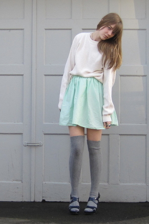 white stolen from dad sweater - green selfmade skirt - silver Target socks - blu