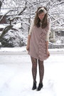 Beige-target-dress-black-topshop-tights-black-h-m-boots