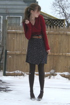 red old fromkohls sweater - blue thrift dress - brown tights - gray H&M shoes -
