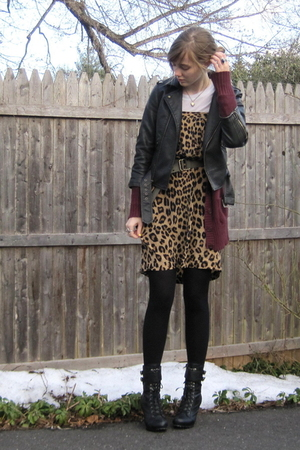 black delias jacket - red Target cardigan - brown thrift dress - black f21 boots