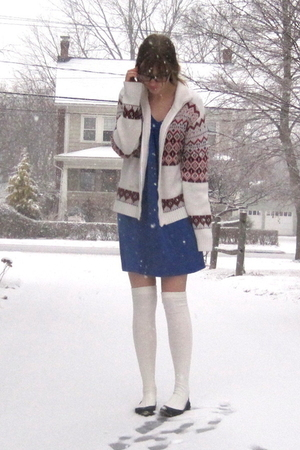 white thrift sweater - blue 2nd Hand dress - white Target socks - black Nine Wes