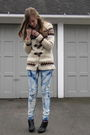 Beige-f21-sweater-blue-diy-jeans-black-h-m-boots