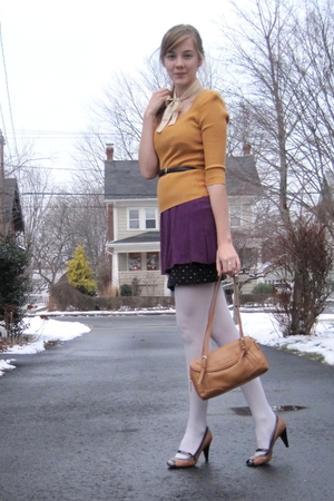 gold random sweater - purple f21 dress - black H&M skirt - brown vintage purse