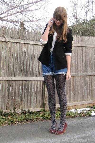 gray f21 tights - red colin stuart via thrift shoes - black 2nd Hand blazer - bl
