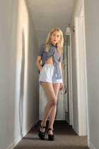blue rag & bone shirt - sky blue H&M shorts - black Miu Miu pumps