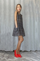 charcoal gray IRO dress - red Alexander Wang pumps