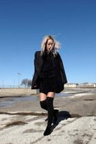 black neiman marcus boots - black Saint Laurent jacket - black Derek Lam sweater