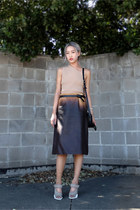 dark brown Prada skirt - black vintage saddle Celine bag - beige Prada heels