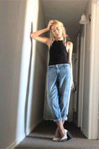 black jet Agent Provocateur bra - sky blue rag & bone jeans