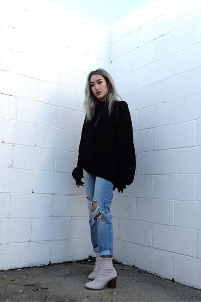 light pink maison martin margiela boots - light blue Zara jeans - black sweater