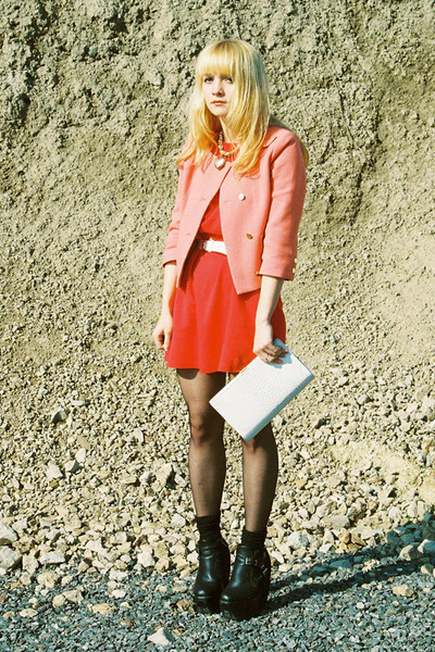black Ebay boots - red H&M dress - coral H&M jacket - white vintage bag - white