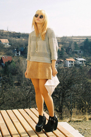 tan leather H&M dress - lime green crop H&M sweater - light pink clutch H&M bag