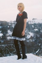black lace ups vagabond boots - black funeral vintage dress - red vintage access