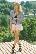 light purple vintage blazer - light pink H&M bag - light pink scalloped H&M shor