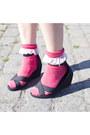 Red-american-apparel-socks-black-h-m-sandals-hot-pink-h-m-skirt-peach-h-m-