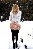 white cardigan - pink skirt - black shoes - gold bracelet - white necklace