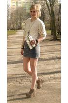 beige sweater - blue skirt - beige shoes - white purse - black bracelet