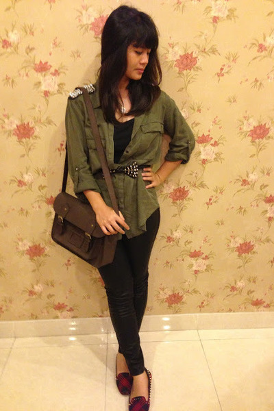spike Zara flats - leather Zara leggings - brown cambridge satchel bag