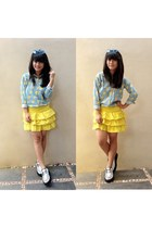 bart simpson shirt - creeper shoes - yellow Zara skirt