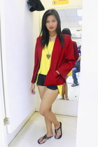 yellow Redhead blouse - ruby red Isadora blazer - black shorts