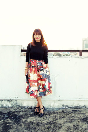 brick red Romwecom skirt - black H&M sweater - sm parisian flats