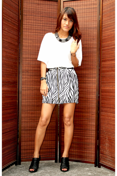 white Mango top - random brand skirt - Primadonna shoes