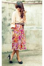 brown depstore belt - orange archiveclothing vintage skirt