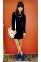 black vintage dress - white multicolored from Ebay bag - hot pink extremefinds c
