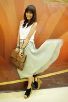 brown envelope fabmanila bag - white thrifted top - lime green midi From SG skir